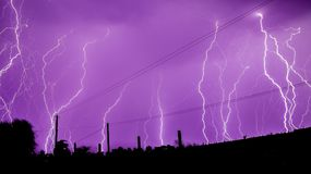 Lightning. Angry Zeus!A lightning shower in the sky royalty free stock photo