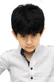 An angrykid on white background Stock Image