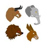 Angryl zwierzęcia set Agresywny byk z czerwonymi oczami Straszny słoń Zdjęcie Stock