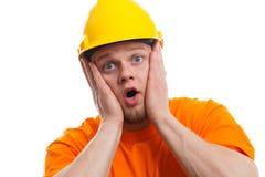 Angst aangejaagde bouwvakker Royalty-vrije Stock Fotografie