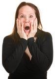 Angst aangejaagde Vrouw in Zwarte royalty-vrije stock foto's