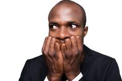 Angst aangejaagde zakenman Stock Foto