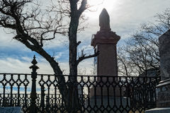 Angstaanjagende begraafplaatsscène Royalty-vrije Stock Foto
