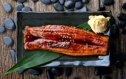 Anguila japonesa asada a la parrilla o Unagi ibaraki foto de archivo