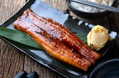 Anguila japonesa asada a la parrilla o Unagi ibaraki imagen de archivo
