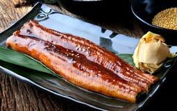 Anguila japonesa asada a la parrilla o Unagi ibaraki Imagenes de archivo