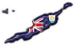 Anguilla button map heart shape. Anguilla button flag map shape - 3d made Stock Image