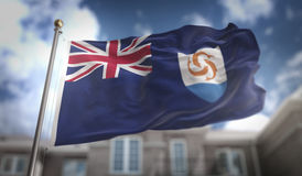 Anguilla Flag 3D Rendering on Blue Sky Building Background Royalty Free Stock Photo