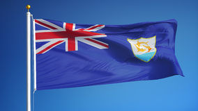 Anguilla flag in slow motion seamlessly looped with alpha. Anguilla flag waving in slow motion against clean blue sky, seamlessly looped, close up, isolated on stock video footage
