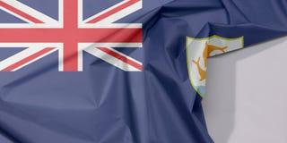 Anguilla-Gewebeflaggenkrepp und -falte mit Leerraum lizenzfreies stockbild
