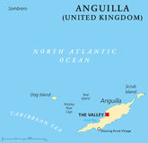 Anguilla Political Map. With capital The Valley. British Overseas Territory in the Caribbean, most northerly of the Leeward Islands in the Lesser Antilles Royalty Free Stock Photos