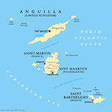 Anguilla, Saint-Martin, Sint Maarten and Saint Barthelemy map Stock Images