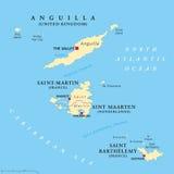 Anguilla, St Martin, Sint Maarten och St Barthelemy översikt vektor illustrationer