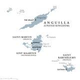 Anguilla, St Martin, Sint Maarten och St Barthelemy politisk översikt vektor illustrationer