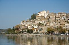 Anguillara (Lake Bolsena, Italy). The lakeside town of Anguillara in the Italian Bolsena Lake Royalty Free Stock Photography