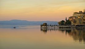 Anguillara Sabazia Pier At Sunset Royalty Free Stock Photo