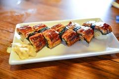 Anguille grillée de riz de sushi Photos libres de droits