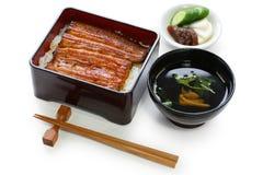 Anguille grillée sur le riz, unaju, cuisine japonaise d'unagi Photographie stock