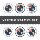 Anguillian flag rubber stamps set. National flags grunge stamps. Country round badges collection Royalty Free Stock Images