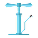 Angular blue bicycle pump. Isolated on white background. flat design modern vector illustration Royalty Free Stock Photos