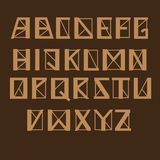 Angular geomertic alphabet, vector set. Letters with thick and thin lines and sharp corners, brown color. Graphic symbols on a dark background. Engineering vector illustration