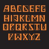 Angular geometric alphabet, vector set. Letters with thick and thin lines and sharp corners, orange color. Graphic symbols on a dark background stock illustration