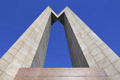 Angular, symmetric shaped tall monument. stock image