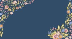 Angular watercolour flower composition on blue vector illustration