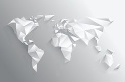 Angular white world map on grey Royalty Free Stock Image