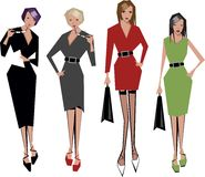 Angular women. Four angular women ready for business royalty free illustration