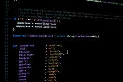 AngularJS kod Arkiv som kodifierar för javascriptram Royaltyfri Fotografi