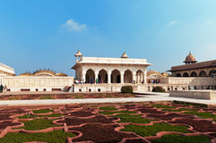 Anguri bagh and Khas Mahal in Red Agra Fort Stock Photos