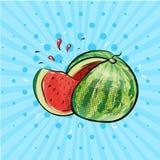 Anguria con l'illustrazione comica del manifesto di Pop art del succo e della fetta royalty illustrazione gratis