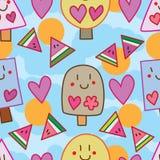 Anguria del bastone del gelato di estate intorno al modello senza cuciture royalty illustrazione gratis