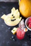 Anguria del melone dei frullati della frutta Immagini Stock Libere da Diritti