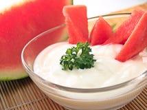 Anguria e yogurt Fotografia Stock Libera da Diritti