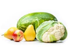 Anguria, mela, pere e cavolfiore. fotografie stock libere da diritti