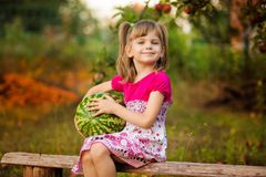 Anguria molto grande felice della tenuta della ragazza del bambino nel giorno soleggiato Concetto sano immagini stock