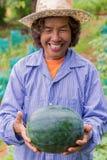 Anguria senior della tenuta della donna dell'agricoltore in azienda agricola Fuoco sull'anguria Immagine Stock Libera da Diritti