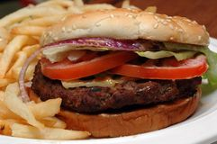 Angus Beef Burger with Fries Stock Images