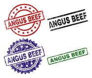 Grunge Textured ANGUS BEEF Stamp Seals. ANGUS BEEF seal prints with damaged texture. Black, green,red,blue vector rubber prints of ANGUS BEEF caption with vector illustration