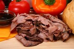 Angus-Braten-Rindfleisch-Sandwich-Bestandteile Lizenzfreies Stockfoto