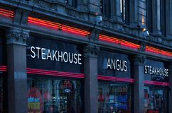 Angus Steakhouse restaurant in city of London, UK. LONDON, UK - NOV 21: Angus Steakhouse restaurant in city of London, UK stock photography