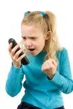 angy τηλέφωνο κοριτσιών Στοκ φωτογραφία με δικαίωμα ελεύθερης χρήσης