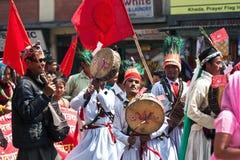 Anhänger der kommunistischen Partei in Nepal Stockfoto