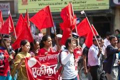 Anhänger der kommunistischen Partei von Nepal Stockfotografie