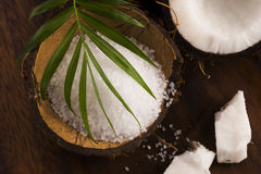 anh εξωτική πετσέτα σκηνής φοινικών φύλλων καρύδων κοκοφοινίκων λουτρών καρύδα με το άλας θάλασσας Στοκ εικόνες με δικαίωμα ελεύθερης χρήσης