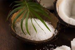anh εξωτική πετσέτα σκηνής φοινικών φύλλων καρύδων κοκοφοινίκων λουτρών καρύδα με το άλας θάλασσας Στοκ Εικόνα