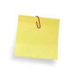 Anhaftende Anmerkung mit Papierklammer Stockfoto