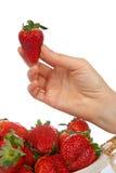 Anhalten einer frischen Erdbeere Lizenzfreie Stockfotografie